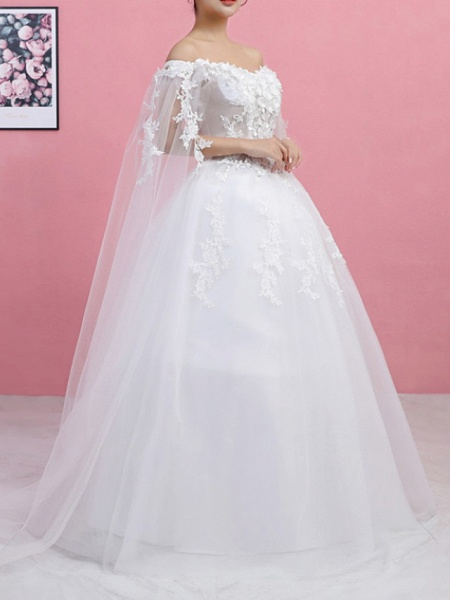 Ball Gown Wedding Dresses Off Shoulder Sweep \ Brush Train Lace Tulle Regular Straps Formal_2