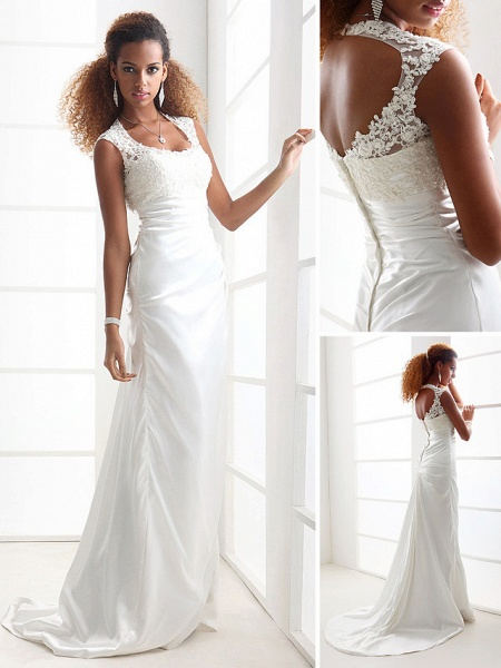 Sheath \ Column Wedding Dresses Scoop Neck Sweep \ Brush Train Charmeuse Beaded Lace Cap Sleeve Simple Backless_2