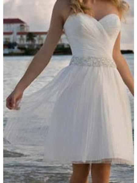 A-Line Wedding Dresses Strapless Knee Length Chiffon Taffeta Stretch Satin Sleeveless Vintage Plus Size_3