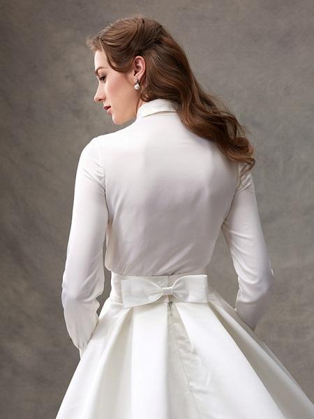 Ball Gown Wedding Dresses High Neck Sweep \ Brush Train Satin Long Sleeve Glamorous Sparkle & Shine_9