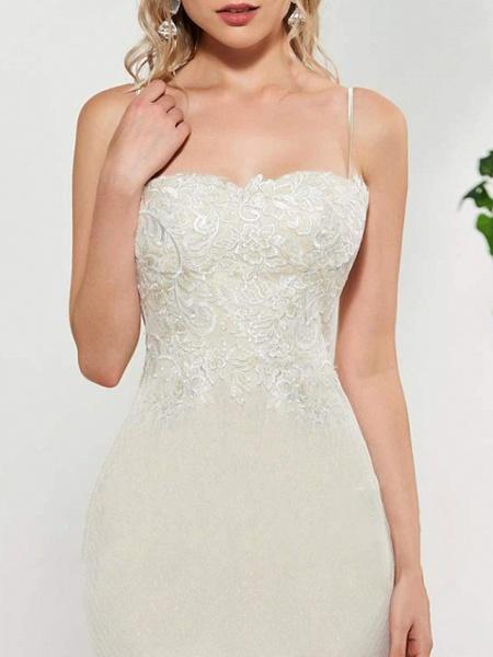 Mermaid \ Trumpet Wedding Dresses Spaghetti Strap Sweep \ Brush Train Lace Satin Tulle Sleeveless Romantic_2