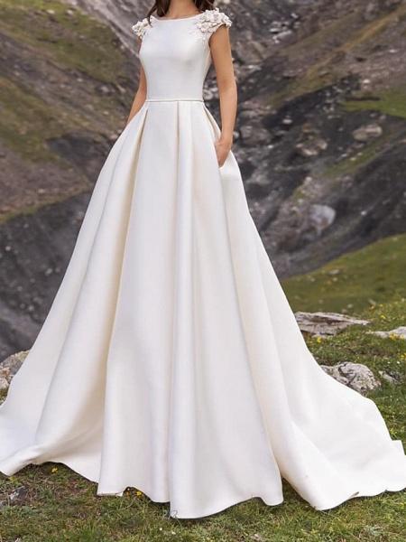 A-Line Wedding Dresses Jewel Neck Sweep \ Brush Train Satin Cap Sleeve Simple_1