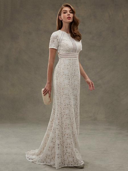Sheath \ Column Wedding Dresses Jewel Neck Floor Length Sheer Lace Short Sleeve Open Back See-Through_6