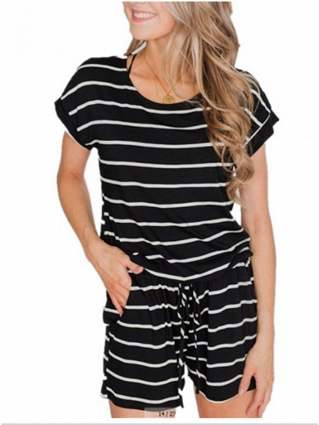 Women's Wine White Black Romper_2