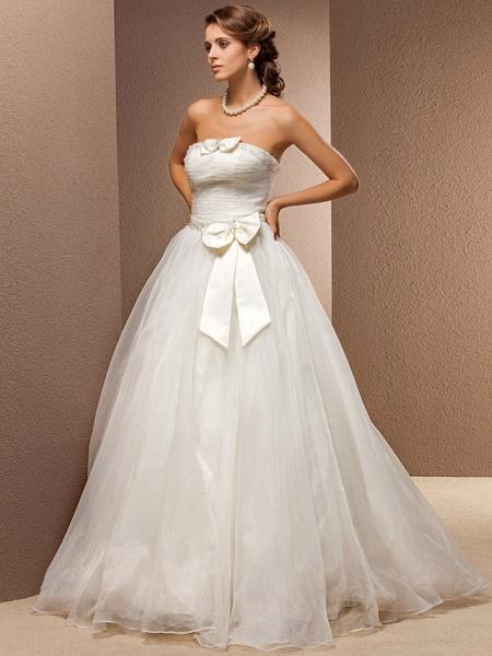 Ball Gown Wedding Dresses Strapless Floor Length Tulle Sleeveless_3