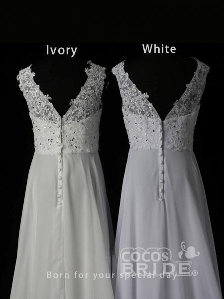 New Romantic Summer Bridal Dress Sleeveless Lace Wedding Dress_3