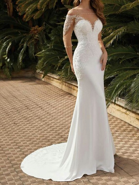 Mermaid \ Trumpet Wedding Dresses Square Neck Sweep \ Brush Train Lace Satin Tulle Half Sleeve Sexy See-Through_1