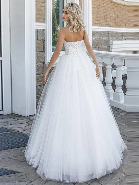 A-Line Wedding Dresses Strapless Floor Length Lace Tulle Strapless Sexy Plus Size_2