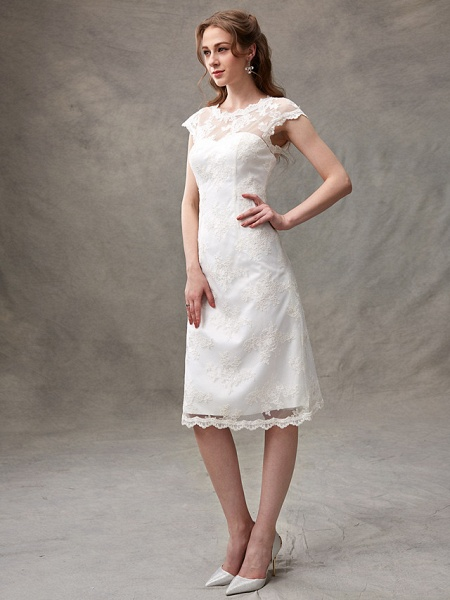 A-Line Wedding Dresses Jewel Neck Knee Length Floral Lace Cap Sleeve Casual See-Through Backless_3