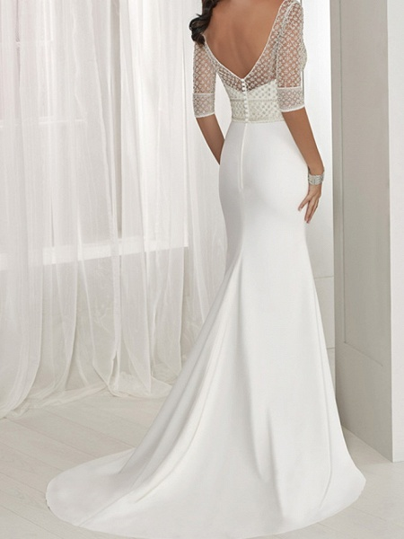 Two Piece A-Line Wedding Dresses Jewel Neck Sweep \ Brush Train Lace Tulle Stretch Satin Half Sleeve Sexy See-Through Backless Cape_3