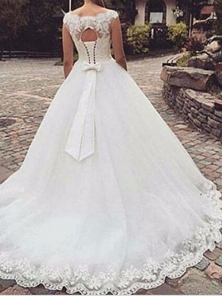 A-Line Wedding Dresses Jewel Neck Sweep \ Brush Train Tulle Regular Straps_1