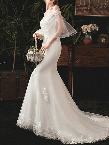 Mermaid \ Trumpet Wedding Dresses Off Shoulder Sweep \ Brush Train Lace Half Sleeve Beach_2