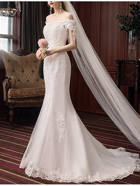 Mermaid \ Trumpet Wedding Dresses Off Shoulder Sweep \ Brush Train Polyester Short Sleeve_2