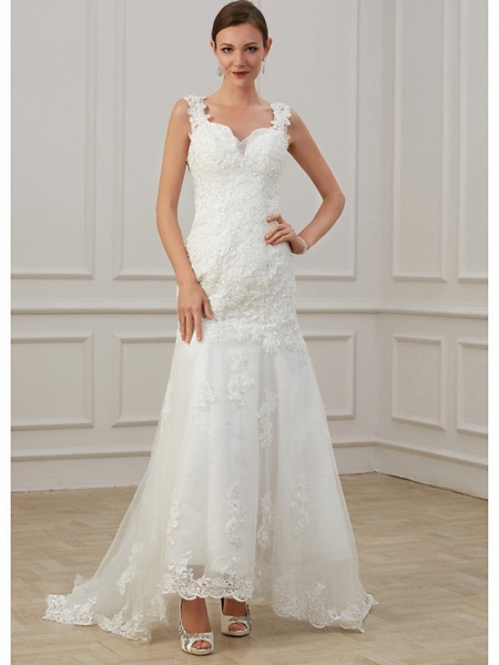 Sheath \ Column Wedding Dresses V Neck Floor Length Lace Tulle Sleeveless Formal Illusion Detail Plus Size_1