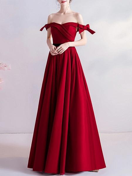 A-Line Wedding Dresses Off Shoulder Floor Length Satin Cap Sleeve Romantic Plus Size Red_1