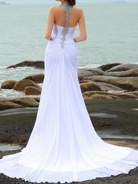 Mermaid \ Trumpet Wedding Dresses Sweetheart Neckline Court Train Chiffon Taffeta Cap Sleeve Country Plus Size_4
