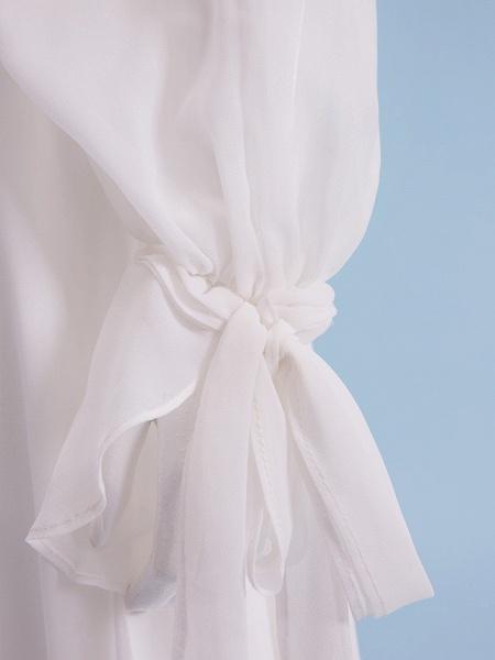 Sheath \ Column Wedding Dresses V Neck Court Train Chiffon Long Sleeve_10
