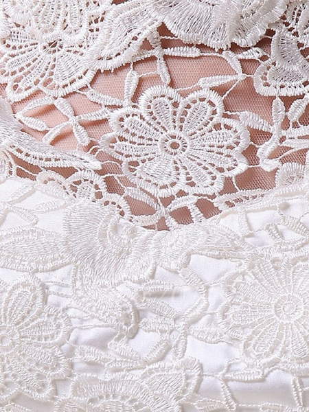 Sheath \ Column Wedding Dresses Jewel Neck Knee Length Lace Long Sleeve Formal Little White Dress_2