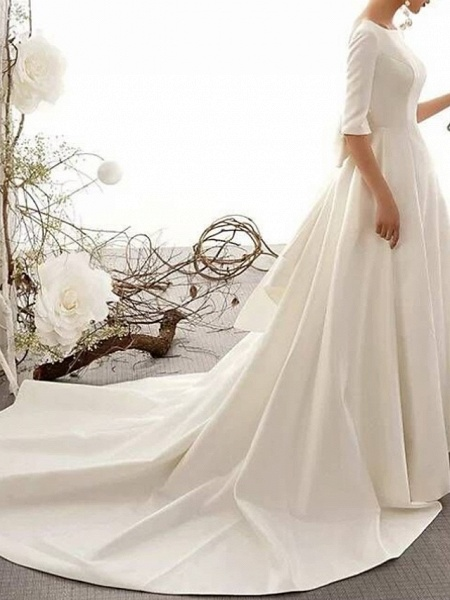 A-Line Bateau Neck Court Train Polyester Half Sleeve Vintage Sexy Wedding Dresses_4
