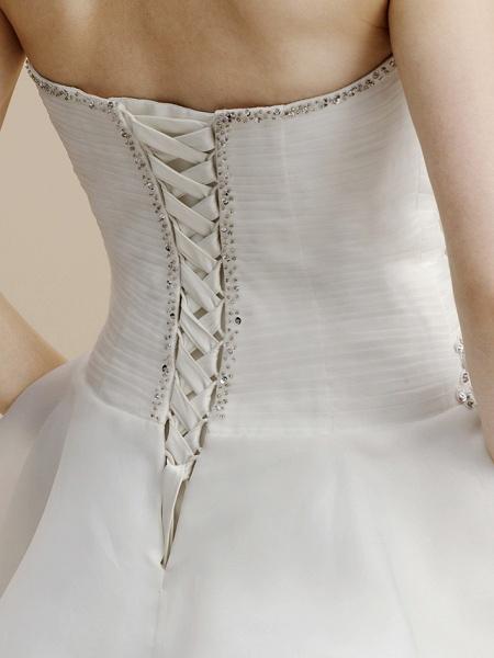 A-Line Wedding Dresses Strapless Asymmetrical Organza Sleeveless Open Back_7