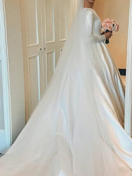 A-Line Wedding Dresses Jewel Neck Court Train Satin Long Sleeve Elegant_2