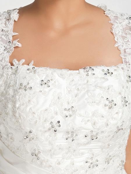Mermaid \ Trumpet Wedding Dresses Square Neck Court Train Chiffon Regular Straps Vintage Sparkle & Shine Plus Size_8