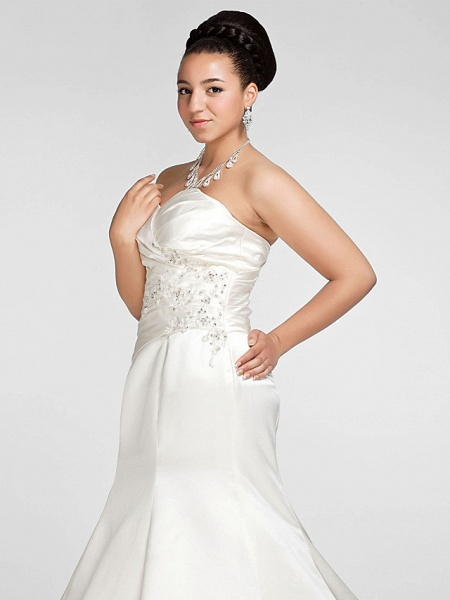 Mermaid \ Trumpet Wedding Dresses Sweetheart Neckline Court Train Satin Strapless Formal Sparkle & Shine Plus Size_6