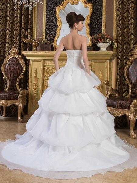 Ball Gown Strapless Court Train Organza Satin Strapless Wedding Dresses_3