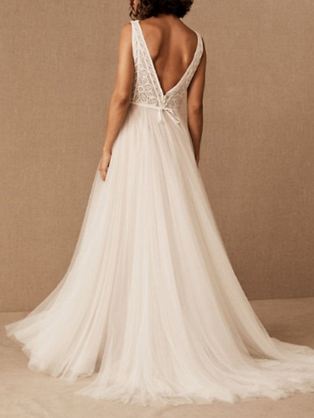 A-Line Wedding Dresses V Neck Floor Length Tulle Polyester Sleeveless Casual Boho Plus Size_3
