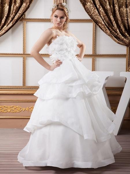 Ball Gown Strapless Floor Length Organza Satin Strapless Plus Size Wedding Dresses_2