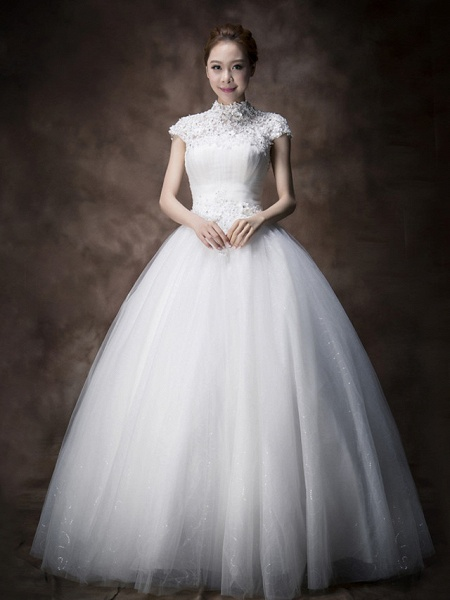 Ball Gown A-Line Wedding Dresses High Neck Floor Length Lace Tulle Cap Sleeve_1