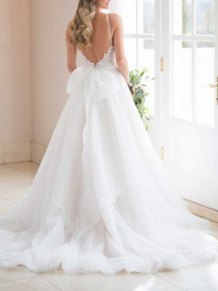 A-Line Wedding Dresses V Neck Sweep \ Brush Train Lace Tulle Spaghetti Strap Romantic Backless_3