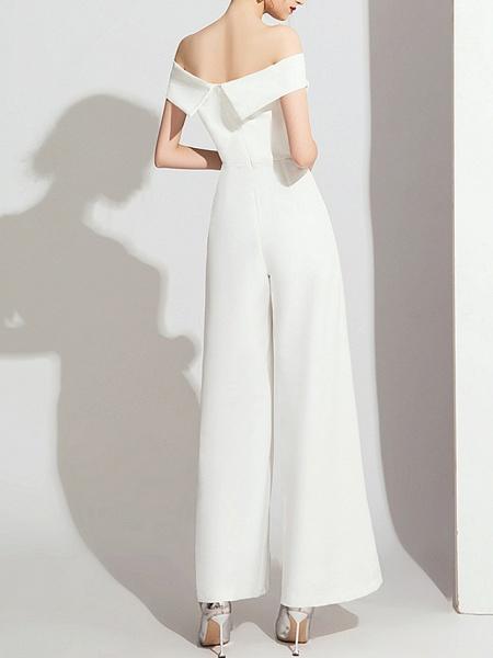 Jumpsuits Wedding Dresses Off Shoulder Floor Length Polyester Cap Sleeve Formal Simple_5
