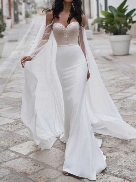Mermaid \ Trumpet Wedding Dresses Sweetheart Neckline Sweep \ Brush Train Polyester Long Sleeve Romantic See-Through Illusion Detail Backless_1