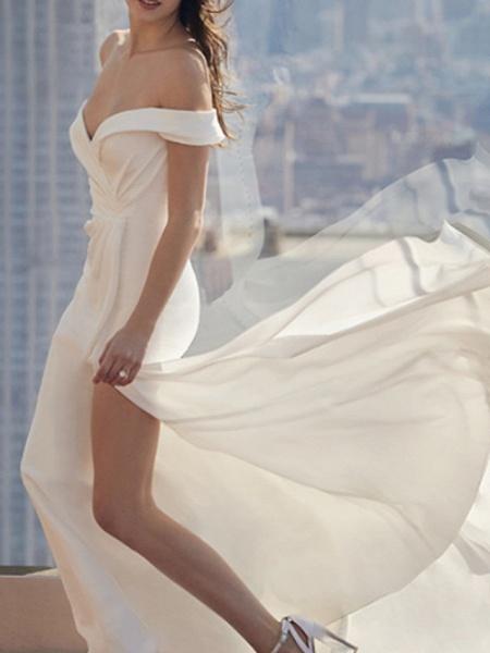 A-Line Wedding Dresses Off Shoulder Court Train Chiffon Short Sleeve Formal Plus Size_1