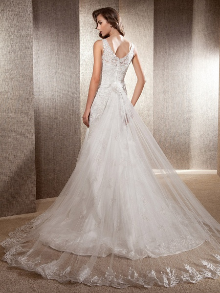 Mermaid \ Trumpet Wedding Dresses Scoop Neck Sweep \ Brush Train Lace Tulle Sleeveless_6