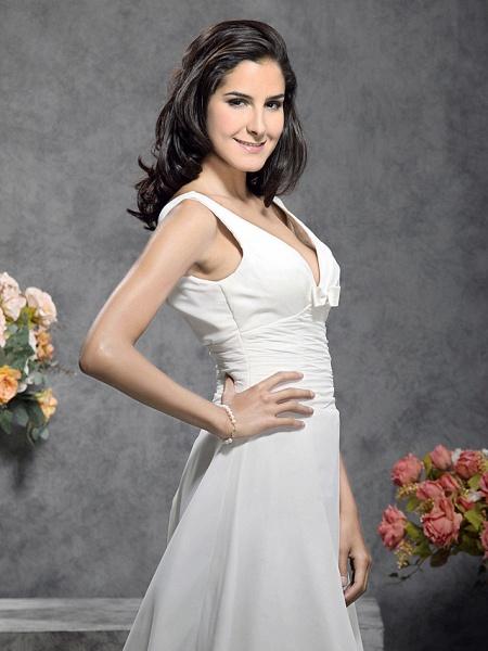 Princess A-Line Wedding Dresses Straps V Neck Court Train Chiffon Sleeveless_4