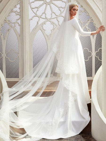 A-Line Wedding Dresses Bateau Neck Chapel Train Satin 3\4 Length Sleeve Elegant_6