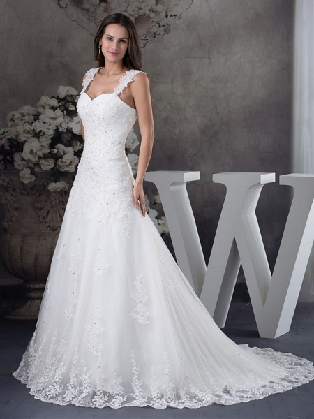 A-Line Sweetheart Neckline Chapel Train Lace Tulle Spaghetti Strap Wedding Dresses_2