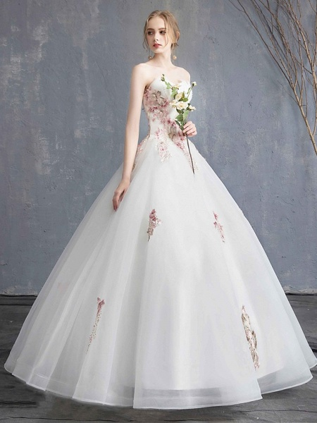 A-Line Wedding Dresses Strapless Maxi Lace Organza Tulle Strapless Country Romantic Sparkle & Shine_5