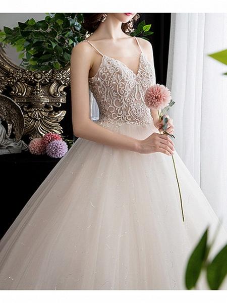 A-Line Wedding Dresses V Neck Floor Length Lace Spaghetti Strap_2