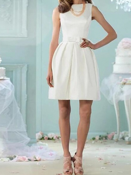 A-Line Wedding Dresses Jewel Neck Knee Length Cotton Sleeveless Vintage Little White Dress_1