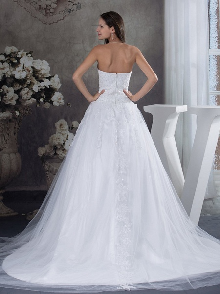 A-Line Strapless Court Train Lace Tulle Strapless Wedding Dresses_3