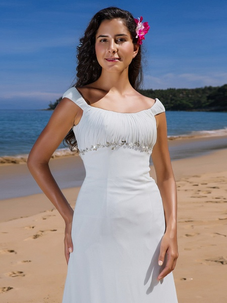 Sheath \ Column Wedding Dresses Scoop Neck Sweep \ Brush Train Chiffon Cap Sleeve Beach Plus Size_5