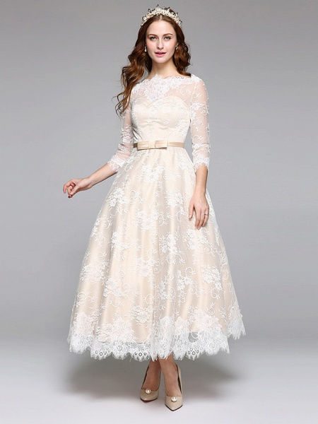 A-Line Wedding Dresses Bateau Neck Ankle Length Lace Over Satin 3\4 Length Sleeve Casual Boho See-Through Cute Illusion Sleeve_2