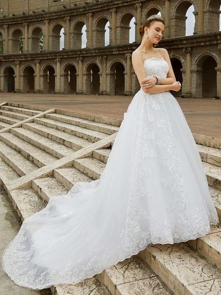 Ball Gown Wedding Dresses Strapless Sweep \ Brush Train Tulle Glitter Lace Strapless Country Sparkle & Shine Backless_6