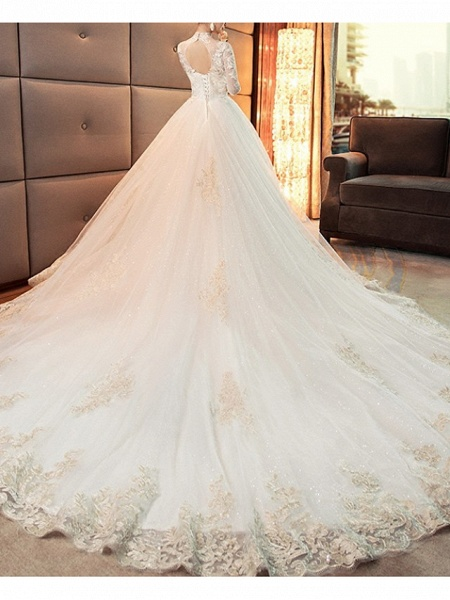 A-Line Wedding Dresses High Neck Court Train Lace Tulle Long Sleeve Casual Plus Size Illusion Sleeve_2