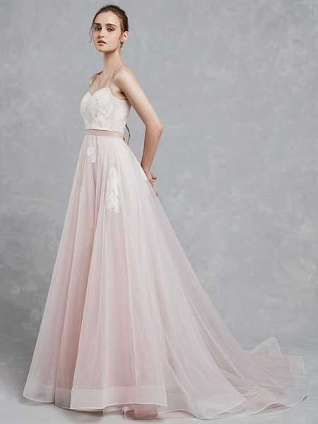 A-Line Wedding Dresses Sweetheart Neckline Court Train Lace Tulle Spaghetti Strap Beautiful Back_4