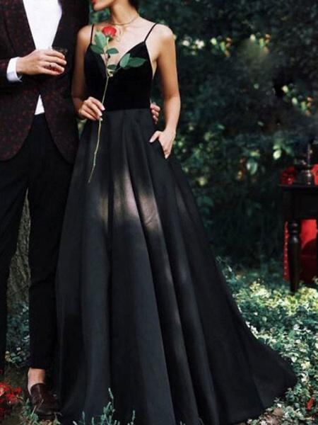 A-Line Wedding Dresses V Neck Floor Length Lace Spaghetti Strap Formal Black_1