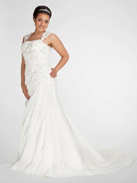 Mermaid \ Trumpet Wedding Dresses Square Neck Court Train Chiffon Regular Straps Vintage Sparkle & Shine Plus Size_3